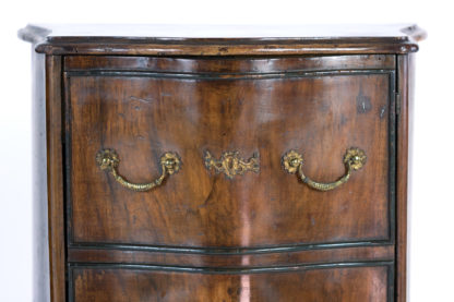 faux drawer on Pair Of Italian Walnut Bedside Tables With Carved And Ebonized Details, Each With Faux Drawer Front Single Doors, Circa 1890 Garden Court Antiques, San Francisco
