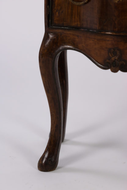 detail of Pair Of Italian Walnut Bedside Tables With Carved And Ebonized Details, Each With Faux Drawer Front Single Doors, Circa 1890 Garden Court Antiques, San Francisco