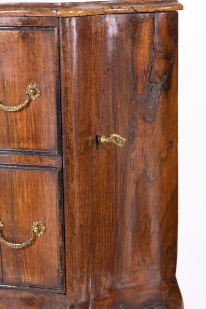 Key on Pair Of Italian Walnut Bedside Tables With Carved And Ebonized Details, Each With Faux Drawer Front Single Doors, Circa 1890 Garden Court Antiques, San Francisco