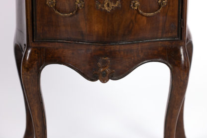 Carved apron on Pair Of Italian Walnut Bedside Tables With Carved And Ebonized Details, Each With Faux Drawer Front Single Doors, Circa 1890 Garden Court Antiques, San Francisco
