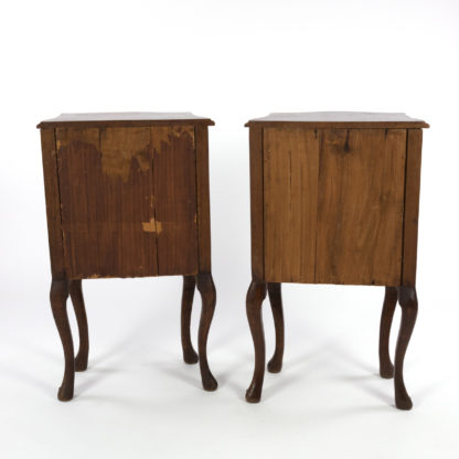 Back side of Pair Of Italian Walnut Bedside Tables With Carved And Ebonized Details, Each With Faux Drawer Front Single Doors, Circa 1890 Garden Court Antiques, San Francisco