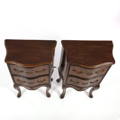 detail of the tops of a Pair Of Italian Walnut Bedside Tables With Carved And Ebonized Details, Each With Faux Drawer Front Single Doors, Circa 1890 Garden Court Antiques, San Francisco