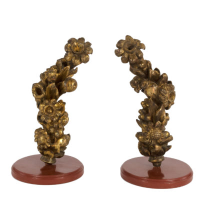Pair Of 18th Century Carved Giltwood Architectural Elements Depicting Fruit And Flowers, Italian, Circa 1700.Garden Court Antiques, San Francisco