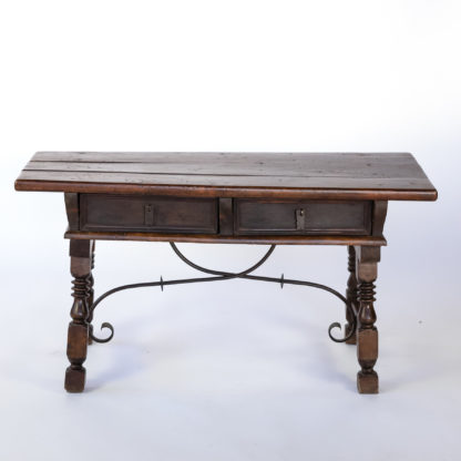 18th Century Spanish Walnut Two-drawer Low Trestle Table With Turned Legs, Circa 1780.