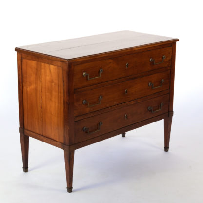 Antique French Cherry-Wood Three Drawer Commode With Brass Hardware, France, Circa 1850
