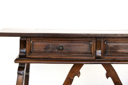 Baroque Period Spanish Walnut Writing Table With Two Drawers, Spain, Circa 1700.