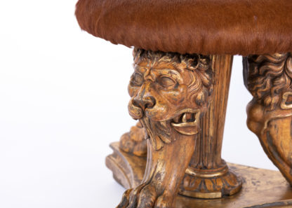 Animate Lion's Head Detail on an Impressive Tripod Stool Composed of 19th Century Elements.