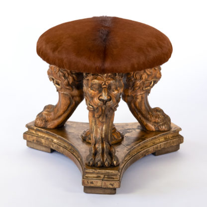 Impressive Tripod Stool With Three Animate Carved Lion's Head & Paws Composed of 19th Century Elements.