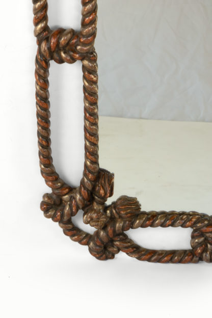 "Whimsical Napoleon III Painted Carved Wood ""Twisted Rope And Tassel"" Mirror Frame, France, Circa 1870."