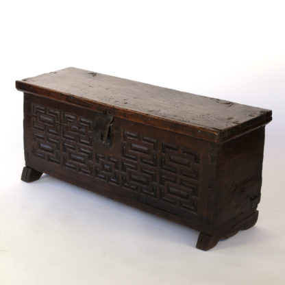 Baroque Period Spanish Walnut Coffer With Geometric Carved Front And Original Hardware; Spain, Circa 1650.