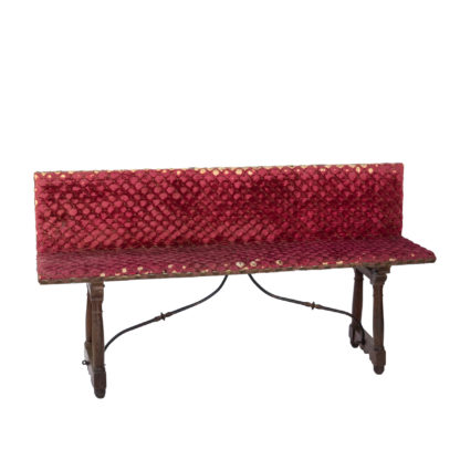 Baroque Revival Spanish Walnut Upholstered Trestle Bench With Original Velvet Upholstery, Spain, Circa 1870
