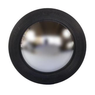 Black Painted Round Fluted Mirror Frame With Convex Mirror, English 20th Century.