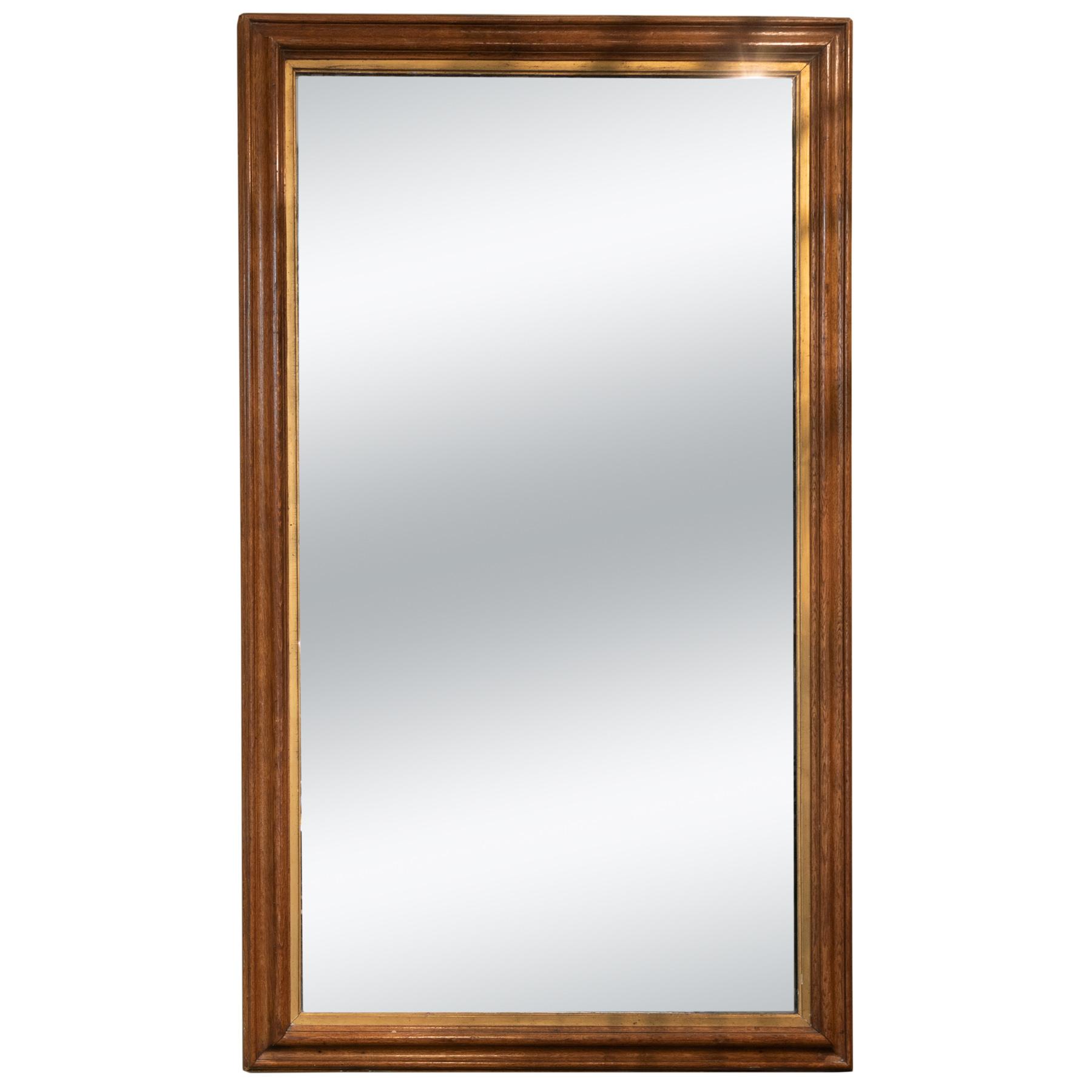 Very Large Vintage English Oak Mirror W Original Mercury Glass 4150 355 1690