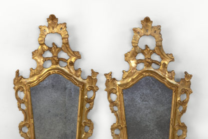 Pair Of Small-Scale Carved French Rococo Style Mirrors; France, Circa 1890.