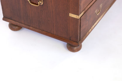 Handsome Teak Secretaire Two-Part Campaign Chest With Ornate Flush Falling Brass Pulls, Inset Brass Supports; English Circa 1860.
