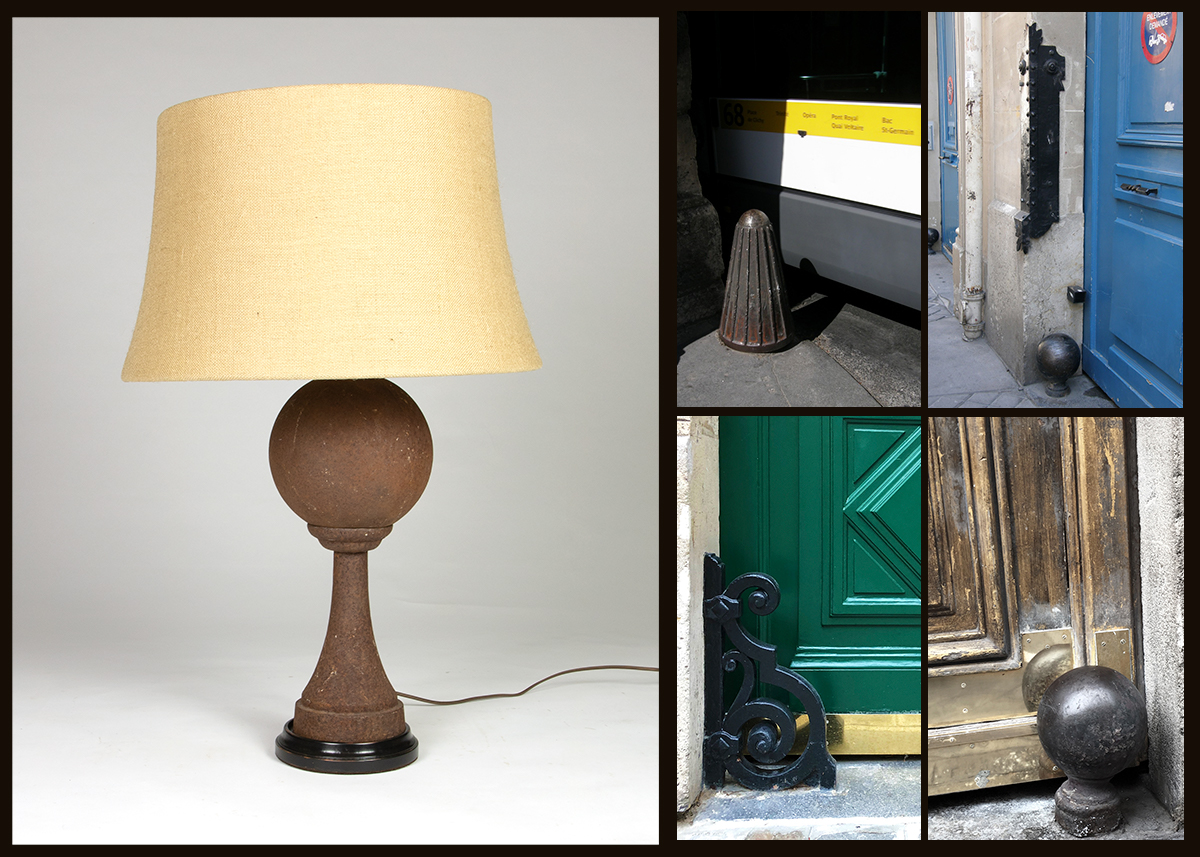 historical chasse-roues, cast iron ball Paris street furniture and other designs.
