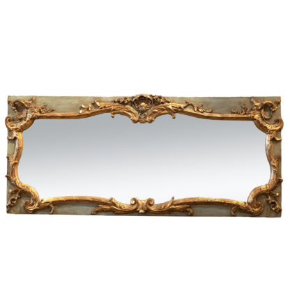 Louis XV Style Parcel Gilt And Sage-Green Painted Trumeau Mirror; French, Circa 1870