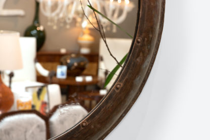 Round Metal Industrial Architectural Element Mounted As A Mirror; English, Circa 1900.