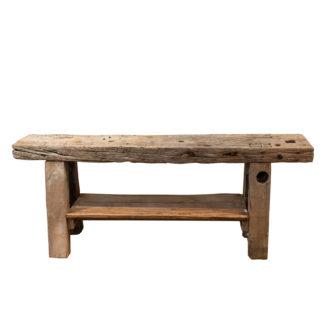 Rustic & Narrow, Pine Workbench With Shelf, French, Circa 1890.