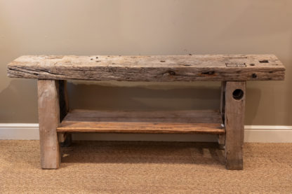 Rustic & Narrow, Pine Workbench With Shelf, French, Circa 1890.