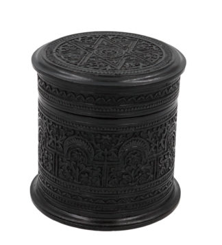 Round Carved Solid Ebony Anglo Indian Tobacco Box, Intricate Carving On Top And All Around;Ceylon circa 1850.