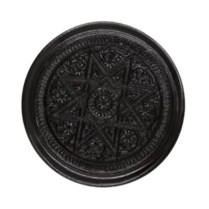 Octagram Carving. Round Carved Solid Ebony Anglo Indian Tobacco Box, Intricate Carving On Top And All Around;Ceylon circa 1850.