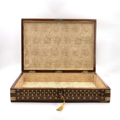Anglo Indian Teak Box with Extensive Brass Inlay, India, Circa 1860