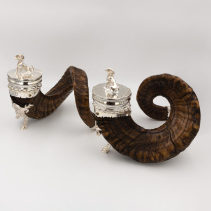 A Pair of Handsome Ram's Horn Snuff Mulls; with Dog Finials, Silver Mounts; Scottish, Circa 1850