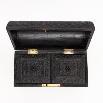 Rare Anglo-Indian Intricately Carved Ebony Dome Top Tea Caddy; Ceylon, Circa 1840.