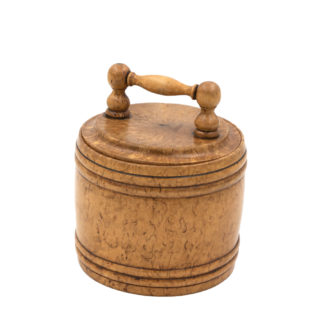 Round Carved Birch Treenware Tobacco Jar With Handle Top; English, Circa 1820.