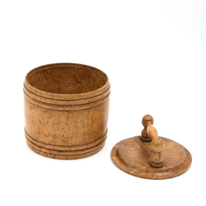 Round Carved Birch Treenware Tobacco Jar With Handle Top; English, Circa 1820.
