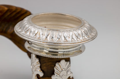 foliate decoration on the candle cup of a Victorian-era Scottish Rams Horn and Silver Candle Holder, Mid-19th Century.