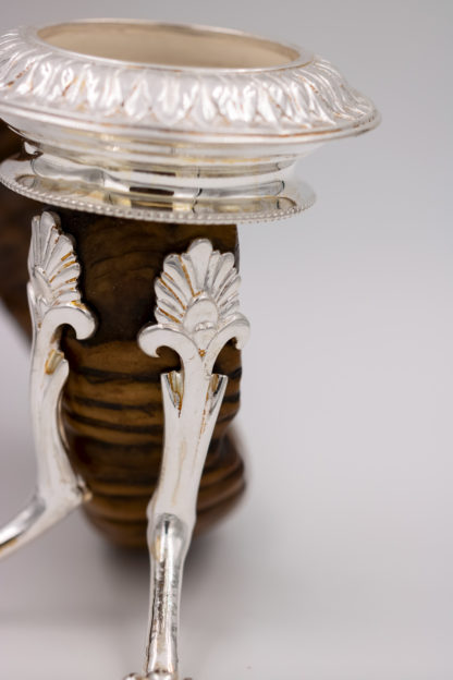 Victorian-era Scottish Rams Horn and Silver Candle Holder, Mid-19th Century.