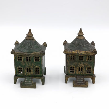 Victorian Cast Iron Pair of Vintage English Figural Still Banks, Circa 1880