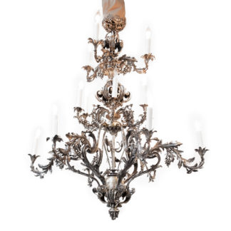 A Large Scale Silvered Bronze 18-light Rococo Style Chandelier, French Circa 1880