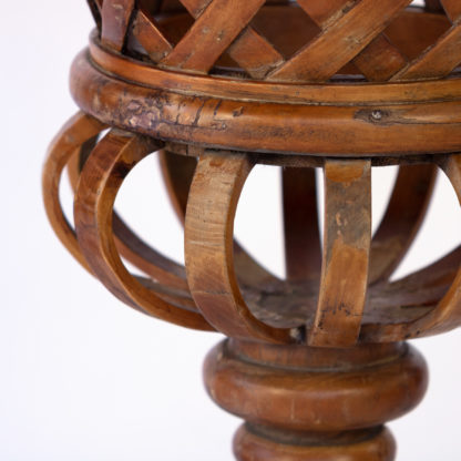 Borghese Style Urn Reimagined In Carved And Twisted Wild Cherry Wood; French, Circa 1890.