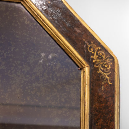 Italian Baroque Period Amber Paint And Parcel-Gilt Octagonal Mirror Frame; Circa 1680.