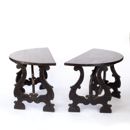Pair Of Late 17th Century Spanish Baroque Walnut Demilune Consoles; Spanish, Circa 1680.