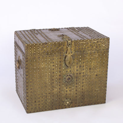 Spanish Brass Covered Traveling Box With Extensive Brass Nailhead Trim Decoration; Spanish, Circa 1810.
