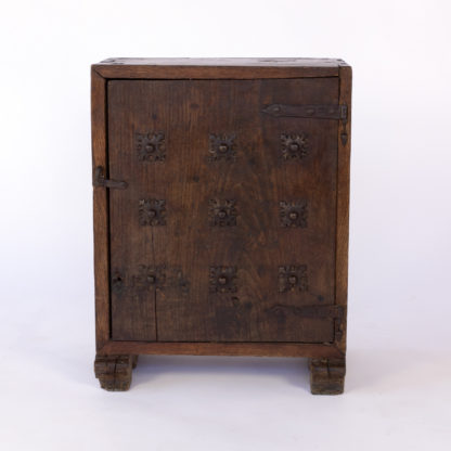 Late Baroque Period Single Door Cabinet, Decorated With Nine Cast Iron Quatrefoil Medallions; Spanish, Circa 1750