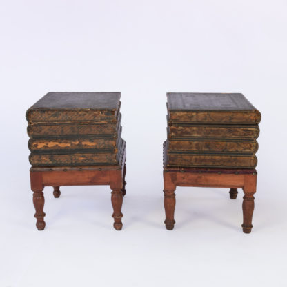 Vintage Pair Of Faux Book Box End Tables On Turned Fruitwood Legs; French, Circa 1880