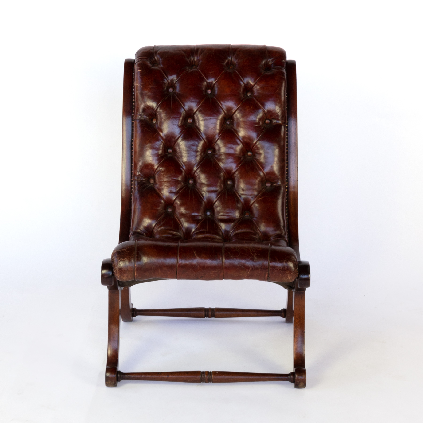 Miraculous Tufted Red Leather And Mahogany Slipper Chair With Nailhead Trim English Circa 1900 Pdpeps Interior Chair Design Pdpepsorg
