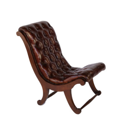 tufted Red Leather And Mahogany Slipper Chair With Nailhead Trim; English, Circa 1900.