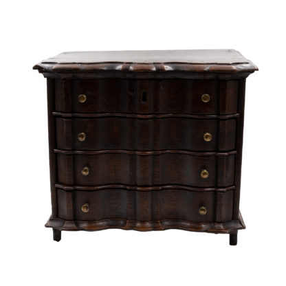 English Oak Serpentine Front Miniature Chest Of Drawers, Circa 1770.