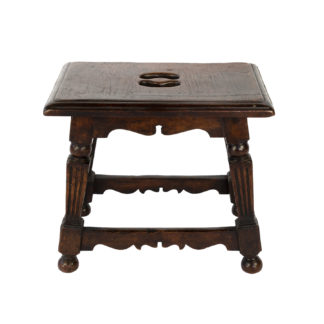 English Oak Joint Stool With Square Fluted Legs, Circa 1850.