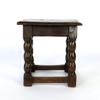 English Oak Joint Stool With Bobbin Turned Legs And Box Stretcher, Circa 1840