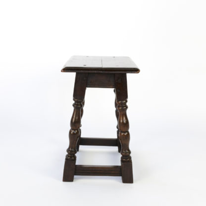 English Oak Joint Stool With Turned Legs & Box Stretcher, Circa 1880.