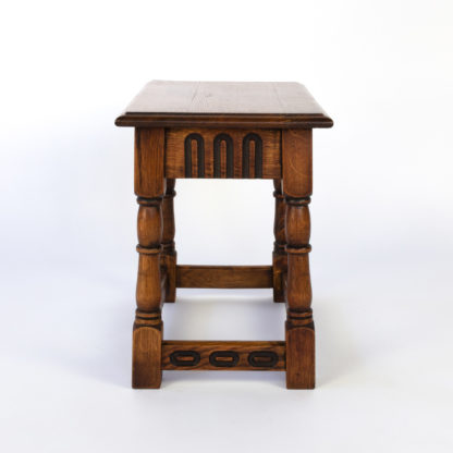 English Oak Joint Stool With Ebonized Details, Circa 1920.