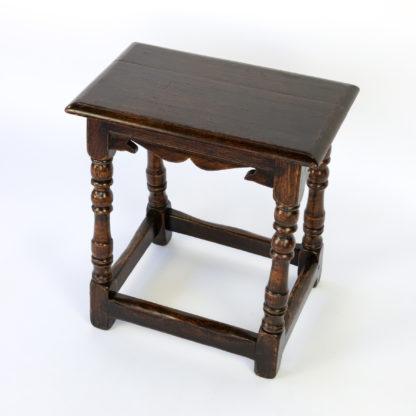 English Oak Joint Stool With Scalloped Apron, Turned Leg & Box Stretchers, Circa 1800.