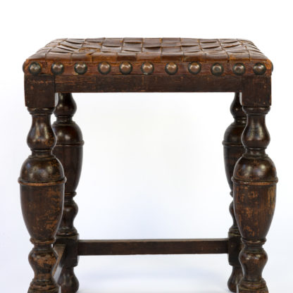 Vintage English Square Oak Stool With Woven Strap Leather Seat, Circa 1800